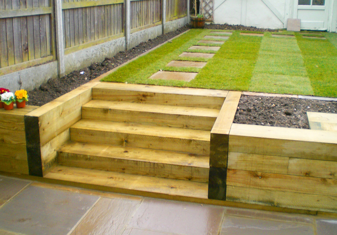 Hardwearing softwood and hardwood railway sleepers for Garden pond design using sleepers
